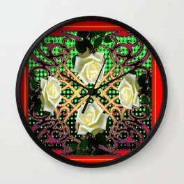 RED ORNATE WHITE ROSE TAPESTRY ART Wall Clock