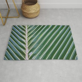 Palm Leaf Illustration green color Rug
