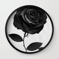 rose Wall Clocks featuring Fabric Rose by Ruben Ireland