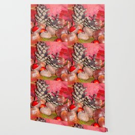 Arbores autumnales modus nucibus pineis oportebit, rosa coxis et hazelnuts Wallpaper