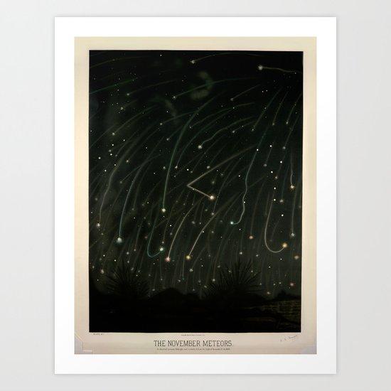 Meteor shower by Étienne Léopold Trouvelot (1868) by brainpicker