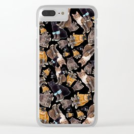 Tough Cats on Black Clear iPhone Case