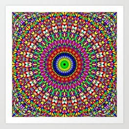 Vibrant Flower Garden Mandala Art Print