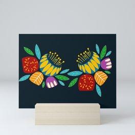 Scandinavia flowers and leaves Mini Art Print