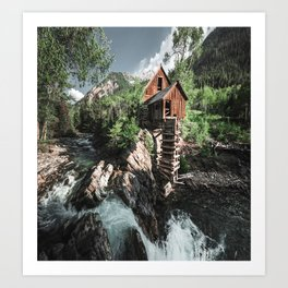 cabin lost in the waterfall Art Print