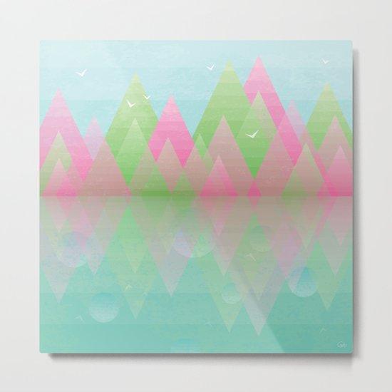 Geometric Lake Mountain I - Spring Metal Print
