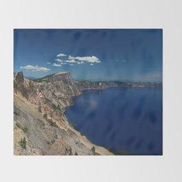 Crater Lake View with Caldera Rim Throw Blanket