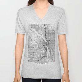 Portland Map White Unisex V-Neck