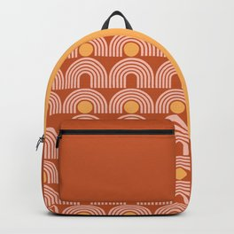 Geometric Lines in Rose Gold Terracotta (Sun and Rainbow Abstract) Backpack