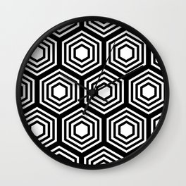 Monochrome Hex Wall Clock