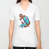 anchors V-neck T-shirts featuring Anchors Aweigh by Artistic Dyslexia