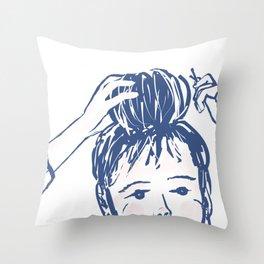 Messy bun day Throw Pillow