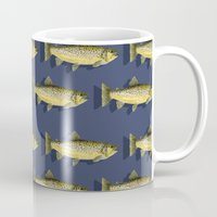 trout Mugs featuring Brown Trout by Trinity Mitchell