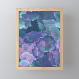 Blue and teal abstract watercolor Framed Mini Art Print