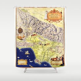 Spanish & Mexican Ranchos, Los Angeles County (1937) Shower Curtain