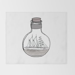 the ship in the bulb . illustration . Throw Blanket