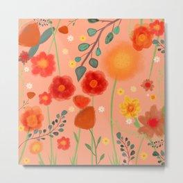 Coral Floral Metal Print