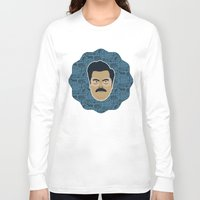 parks and recreation Long Sleeve T-shirts featuring Ron Swanson - Parks and recreation by Kuki