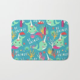 Narwhal Be Unique Pattern Bath Mat