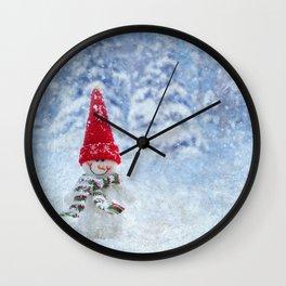 Red Cute Snowman frozen freeze Wall Clock