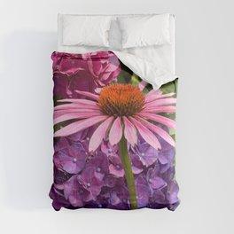 Pink Coneflower framed by Purple & Pink Hydrangea Flowers Digital Photography Custom Art Comforters