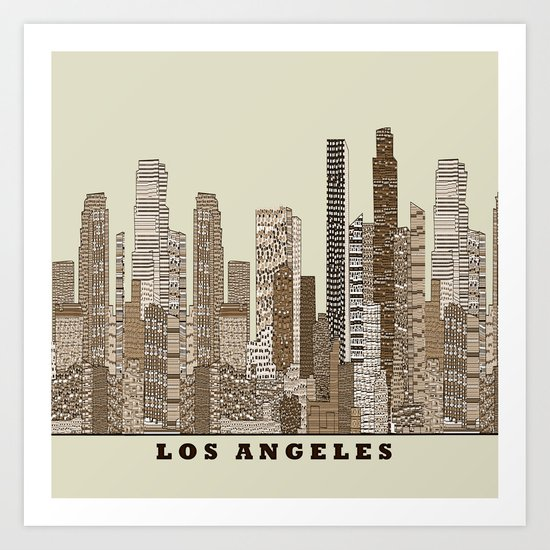 los angeles city Art Print