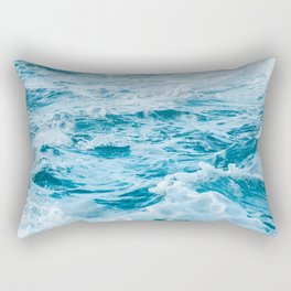 Marble Turquoise Teal Waves Tropical Beach Rectangular Pillow