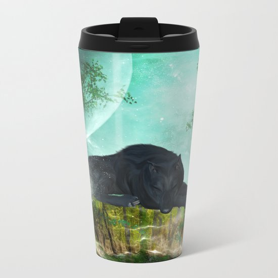 Awesome sleeping wolf Metal Travel Mug