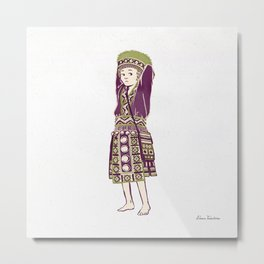 People of Thailand - Bored Hmong Girl  Metal Print