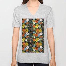 60's Swamp Floral in Midnight Black Unisex V-Neck