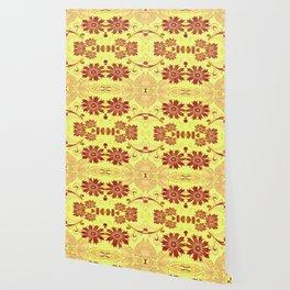 Red Retro Floral Wallpaper