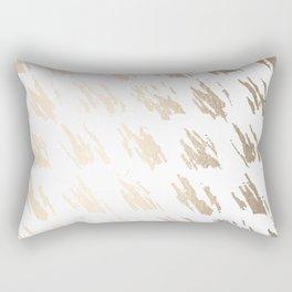 Luxe Gold Brush Polka Splotch on White Rectangular Pillow