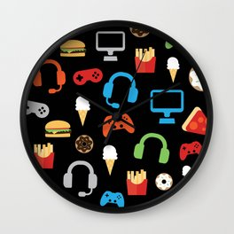 Video Game Party Snack Pattern Wall Clock