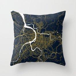 Taipei City Map of Taiwan - Gold Art Deco Throw Pillow