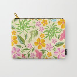 Abstract sunshine yellow pink tropical floral Carry-All Pouch
