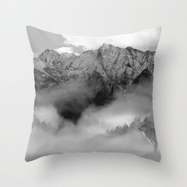 Wolves and the mountain Throw Pillow