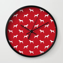 Jack Russell Terrier red and white minimal dog pattern dog silhouette pattern Wall Clock