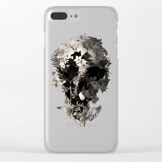 Spring Skull Monochrome Clear iPhone Case