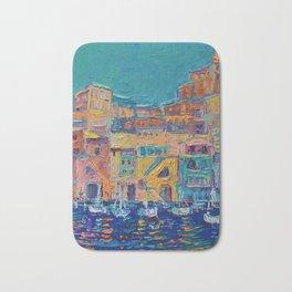 Bay of Naples #3 - modern palette knife art city landscape by Adriana Dziuba Bath Mat