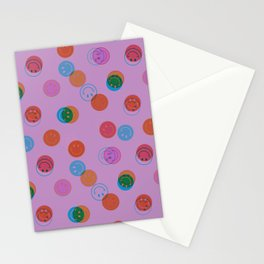 Smiley Face Stamp Print in Purple Stationery Cards