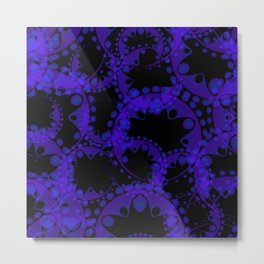 Abstract pattern of purple tentacles and bubbles on a black background. Metal Print