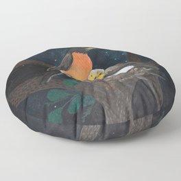 Robins in Nest Floor Pillow