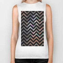 Abstract black pink teal watercolor nebula chevron Biker Tank