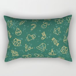 Seamless Christmas Pattern with Tree, Star, Present, Snowman, Candy Cane Rectangular Pillow