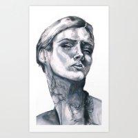 tatoo Art Prints featuring Tatoo peace by Zoli Amandine