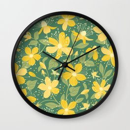 Wildflowers. St. John's wort pattern  Wall Clock