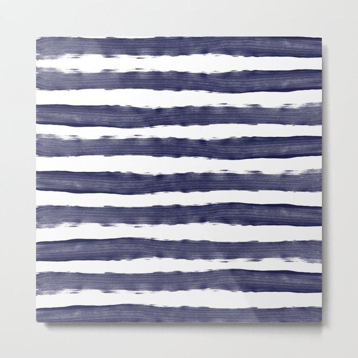 Blue- White- Stripe - Stripes - Marine - Maritime - Navy - Sea - Beach - Summer - Sailor 1 Metal Print