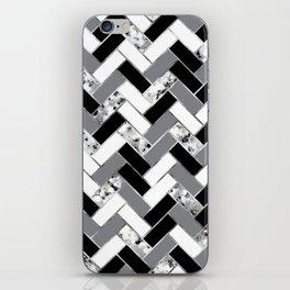 Shuffled Marble Herringbone - Black/White/Gray/Silver iPhone Skin