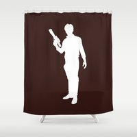 han solo Shower Curtains featuring Han Solo - Inverted by Green Bird Press