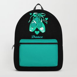 Love to Dance Teal Ballet Shoes Backpack